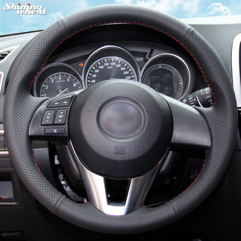 Shining wheat Hand-stitched Black Artificial leather Steering Wheel Cover for Mazda CX-5 CX5 Atenza 2014 New Mazda 3 CX-3 <font><b>2016</b></font>