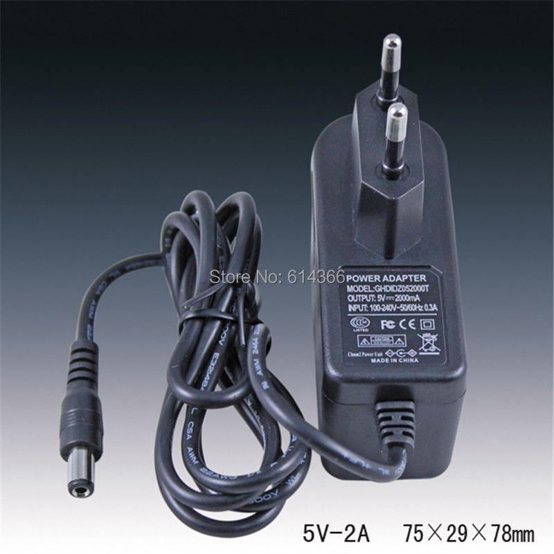 1PCS The best 5 V2A power adapter, 5V2A LED lights for power, 5 V2A AC100-240- V, DC5.5 * 2.1 MM EU plug