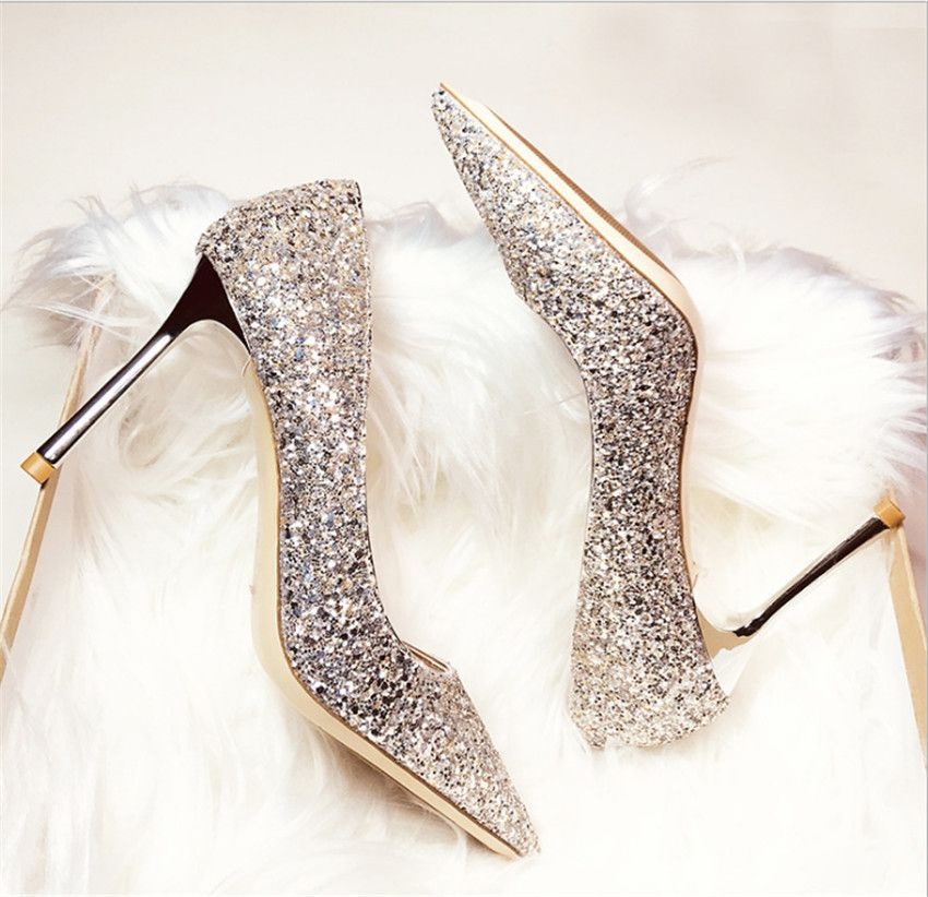 MLRCRIYG 2018 spring and autumn pointed end paillette high-heeled shoes