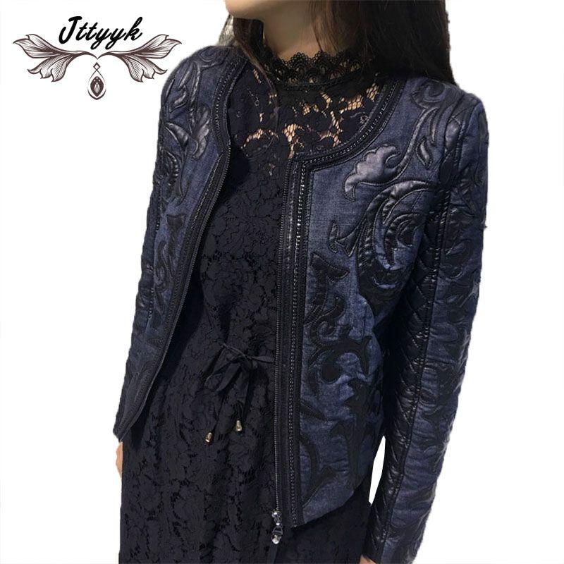 2018 Autumn Winter Denim Women jacket short round neck cowboy stitching PU washed leather Slim retro pilot Women basic Coat L311