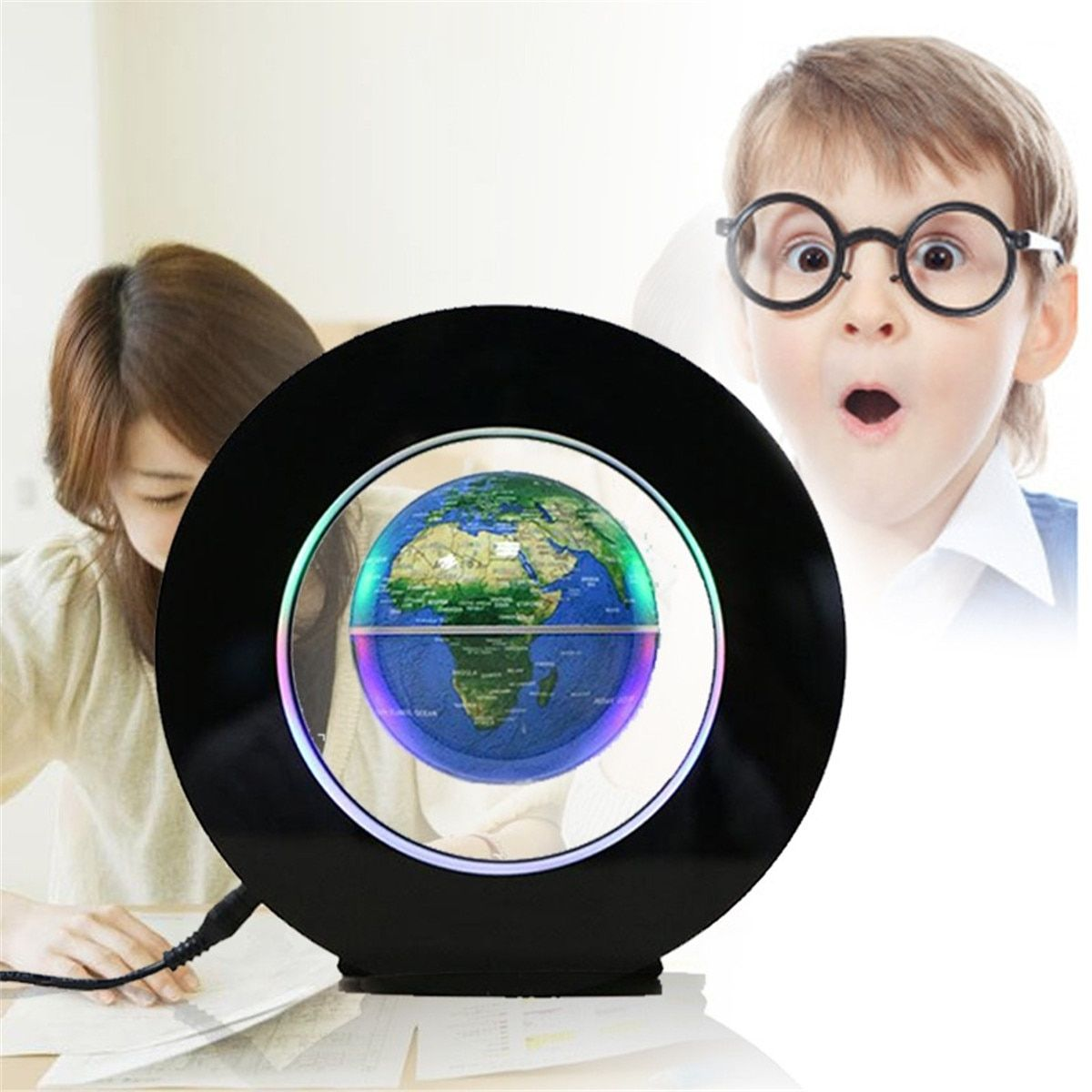 4 Inch Magnetic Levitation Floating Globe Map LED Light Home Office Decoration Ornament EU Plug For Kids Learning Knowledge