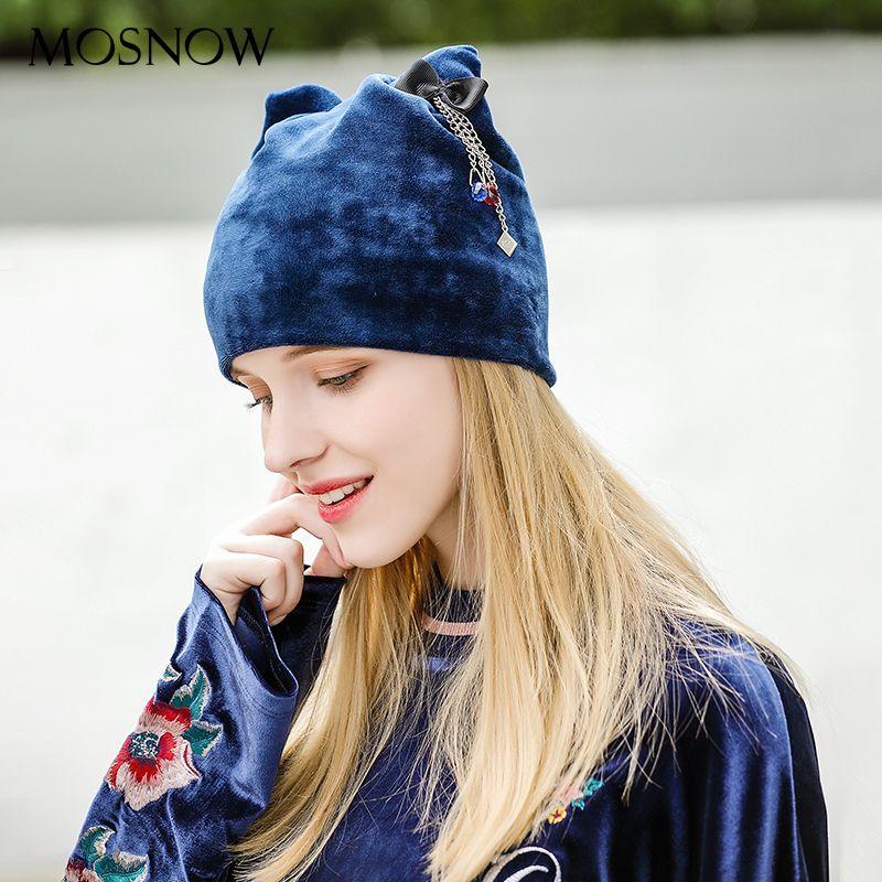 MOSNOW Hat Female Autumn Winter Elegant Bow-Knot Brand  Fashion Hot High Quality 2017 Velvet Hats For Girls Skullies Cap # MZ809