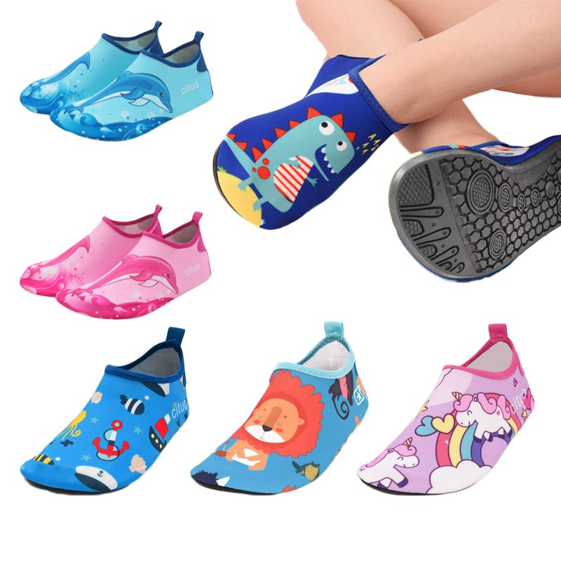 Unicorn Kids Slippers Pantufa Infantil Water Shoes Kids Quick Drying Swim Footwear Barefoot Aqua Socks For Beach Pool Children
