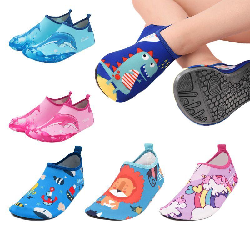 Unicorn Kids Slippers Pantufa Infantil Water Shoes Kids Quick Drying Swim Footwear Barefoot Aqua Socks For Beach Pool Children