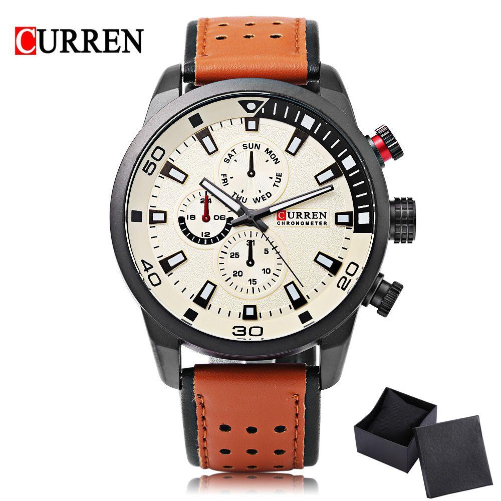 CURREN 8250 Sport Men Quartz Watch Fashion Simple Relogio Masculino Men Military Watches Genuine Leather Clock Men Wristwatch