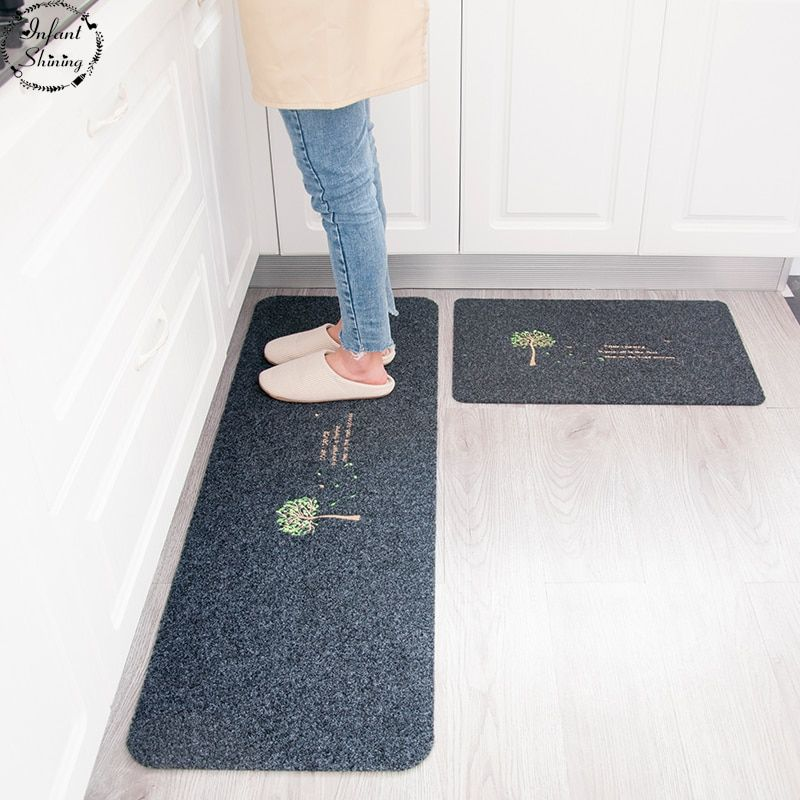 Infant Shining 2PCS Floor Mats Anti-skiddin Water Uptake Oil Absorption Carpet Long Kitchen Door Bathroom Mat Door Bedroom Mat