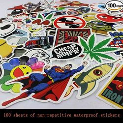 100 pcs Funny Car Stickers on Motorcycle Suitcase Home Decor Phone Laptop Covers DIY Vinyl Decal Sticker Bomb JDM Car styling