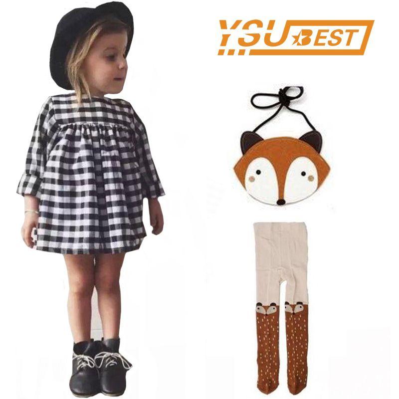 Baby Girls Long Sleeve Plaid Children Dresses Suit  Baby Girls Dress Costume Kids Party Clothing+Girls Leggings+Fox Bag 3PCS