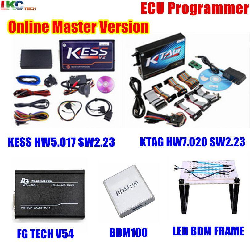 Whole Sale ! Online KESS V5.017 V2.23+KTAG V7.020 V2.23+FG TECH V54+BDM100+LED BDM FRAME OBD2 Manager Tuning Kit ECU Programmer