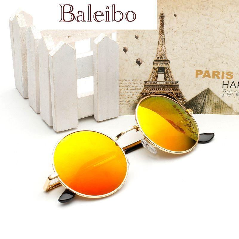 Europe and America retro small round Sunglasses, sunglasses for men and women Colorful reflective star, big box Prince mirror