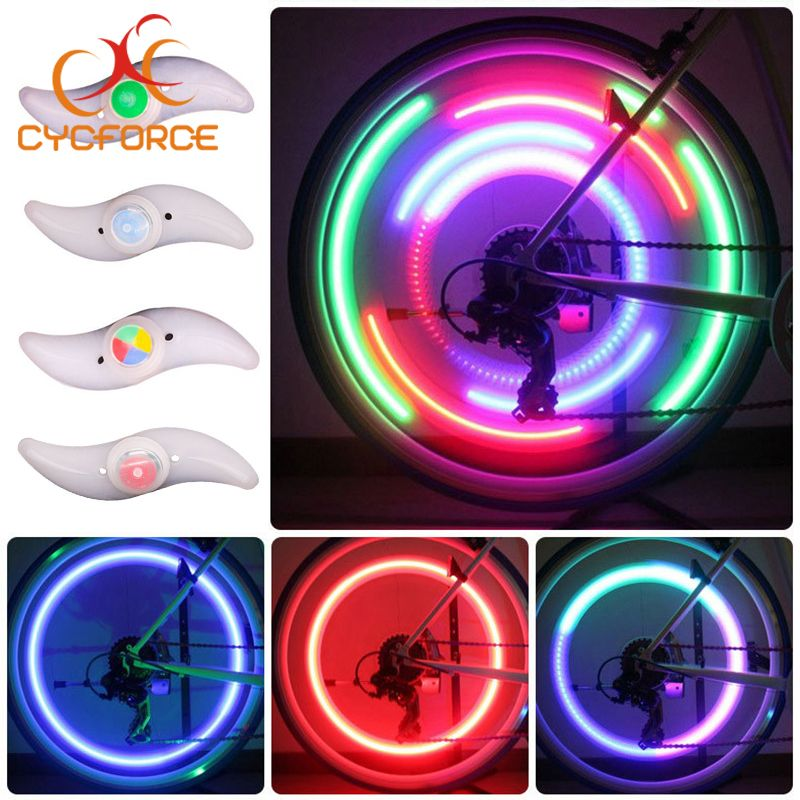 CYCFORCE Bicycle Light Wheel Spokes Cycling Lanterns Bike Lamp LED Tyre Tire Valve Caps For Bicycle Accessories Wheel Wire Light