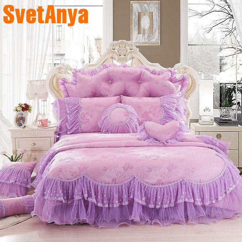 Svetanya princess style lace bedding sets 4pcs/8pcs cotton linens Queen King size duvet cover +coverlet+ pillowcases
