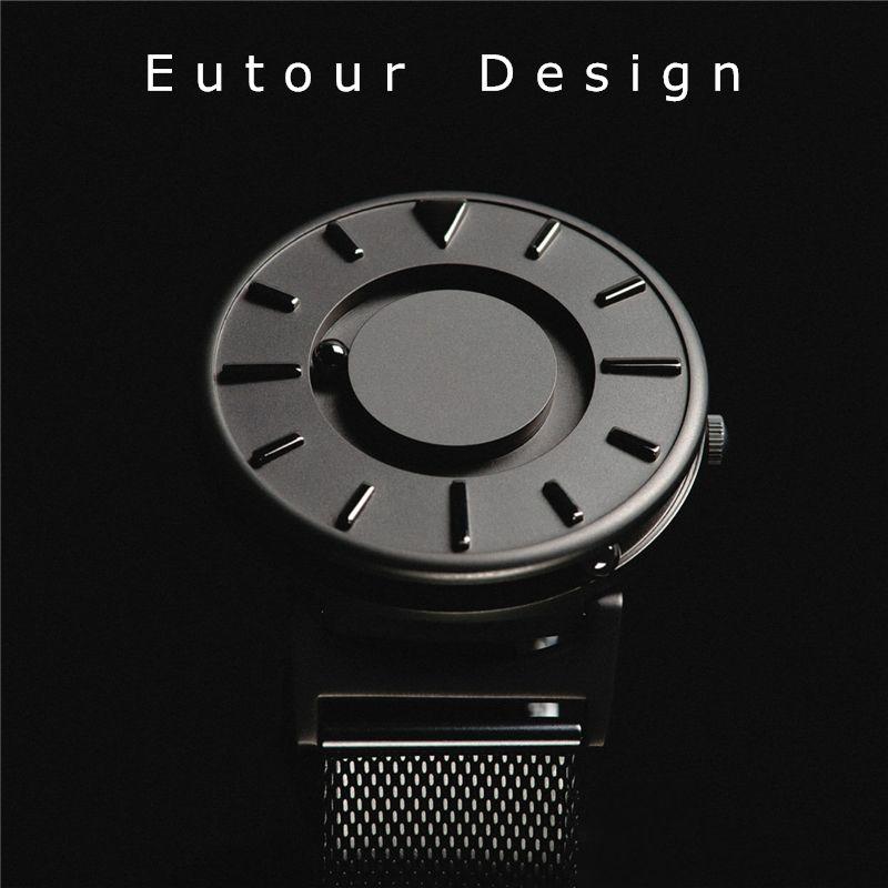 Eutour 2018 Hommes Montre-Bracelet De Mode De Luxe Top Marque Concis Innover Noir Balle Sport Magnétique Conception Relief Quartz Montres