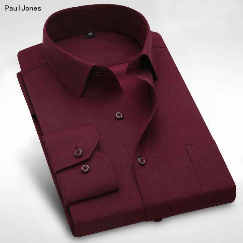PaulJones Plus size 8XL Long Sleeve Solid Men Dress Shirts Large 7XL 6XL White Social Shirts Cheap China Imported Men Clothing