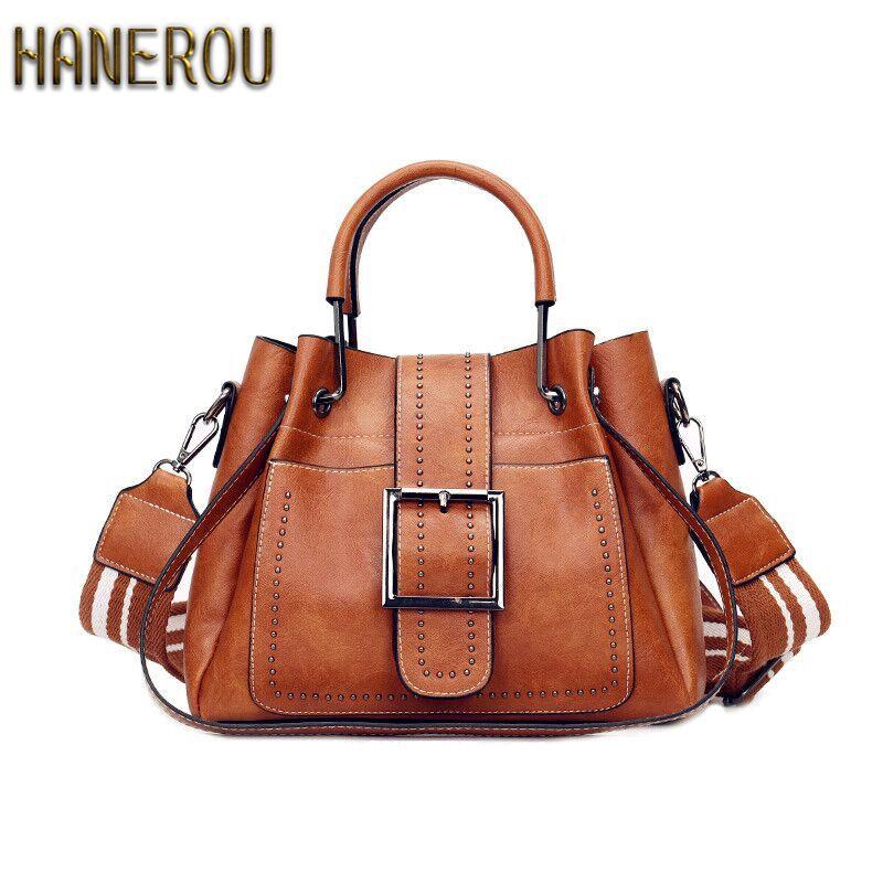 Bags For Women 2018 New Fashion PU Leather Handbags Crossbody Bag For Women Vintage Bucket Shoulder Bag Ladies Handbag Sac Femme