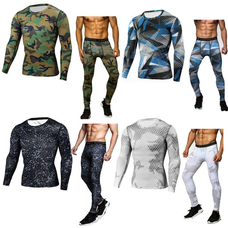 Камуфляжный костюм для мужчин термобелье Длинные рукава тепловой трикотаж ММА Рашгард набор мужчин Crossfit сжатия рубашка