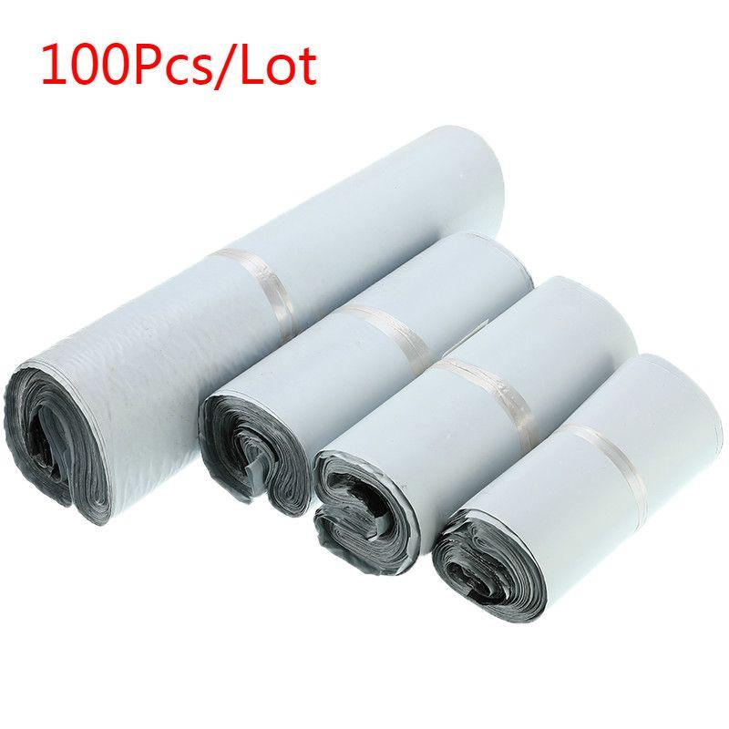 100 Pcs/Lot enveloppe en plastique auto-joint adhésif courrier sacs de rangement blanc noir gris en plastique Poly enveloppe Mailer sacs d'expédition