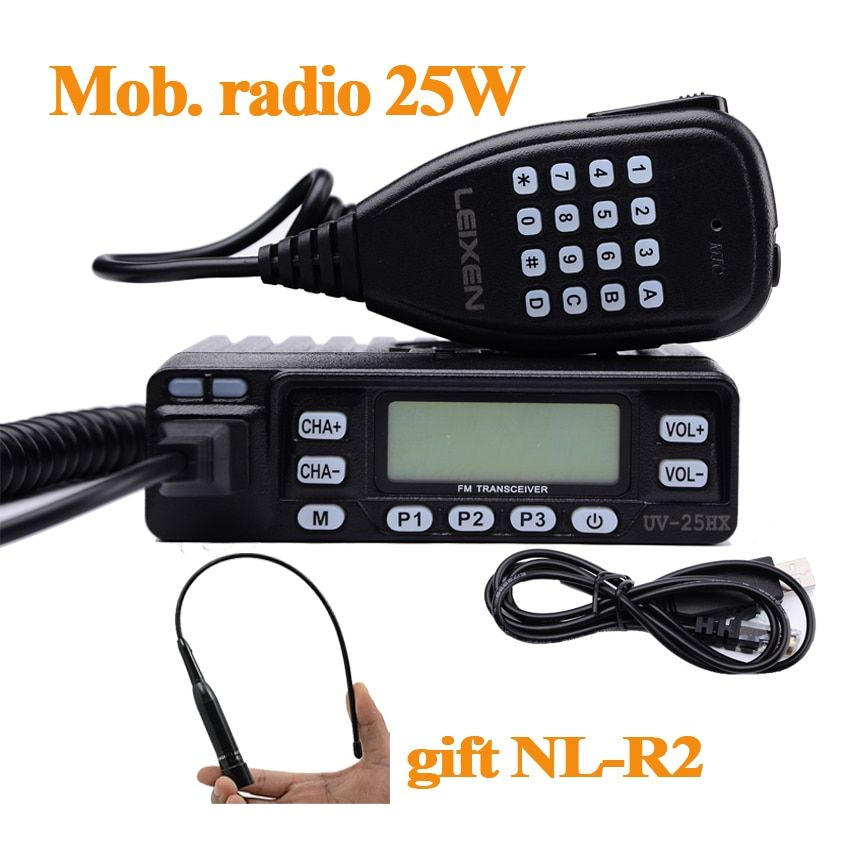 Leixen UV-25HX Min Car Walkie Talkie Dual-Band VHF UHF Mobile Radio Two Way Ham Radio HF Transceiver For Hunting Radio Station