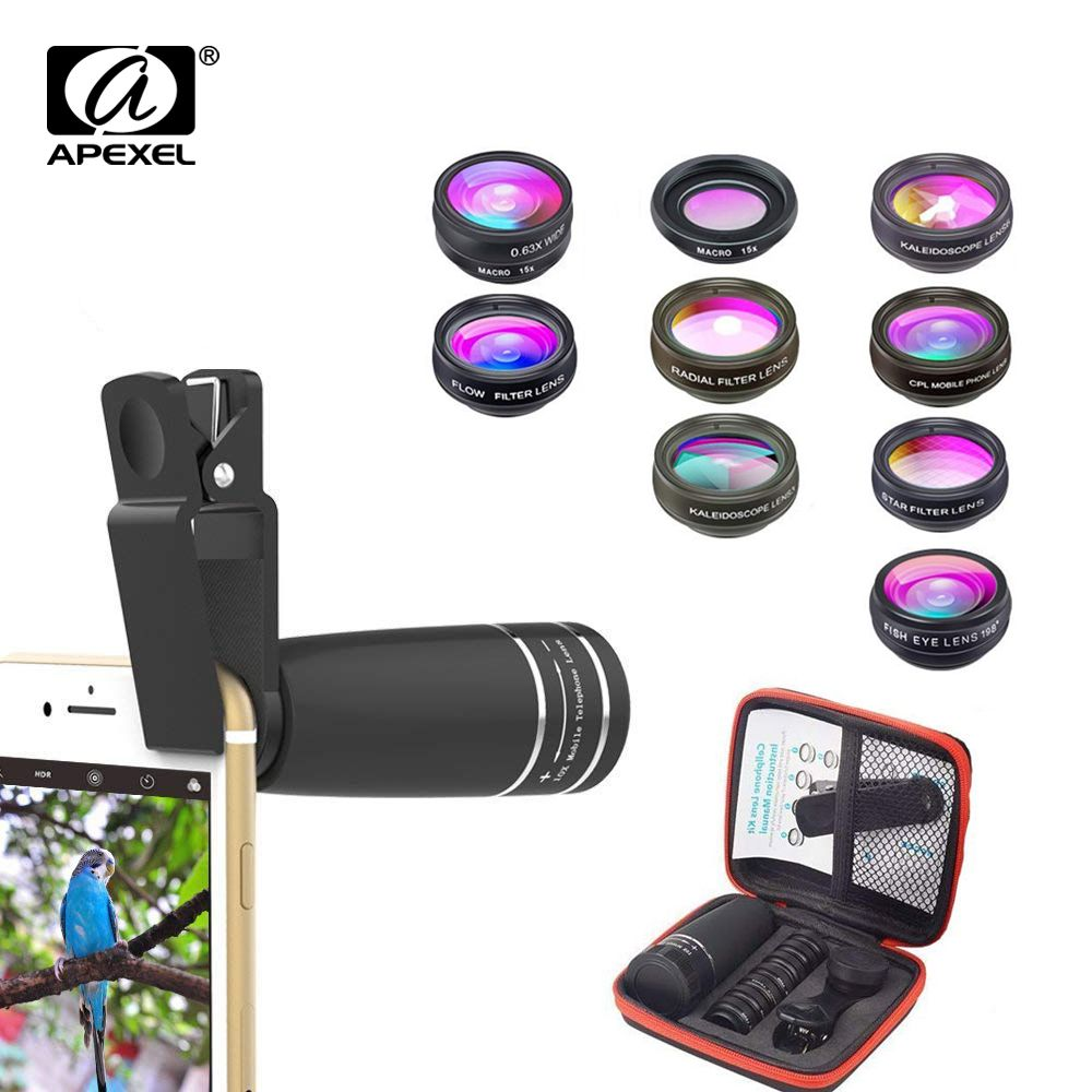 Objectif téléphone portable APEXEL 10 en 1 téléobjectif objectif Fisheye grand Angle objectif Macro + CPL/Flow/Radial/filtre étoile pour tous les smartphones