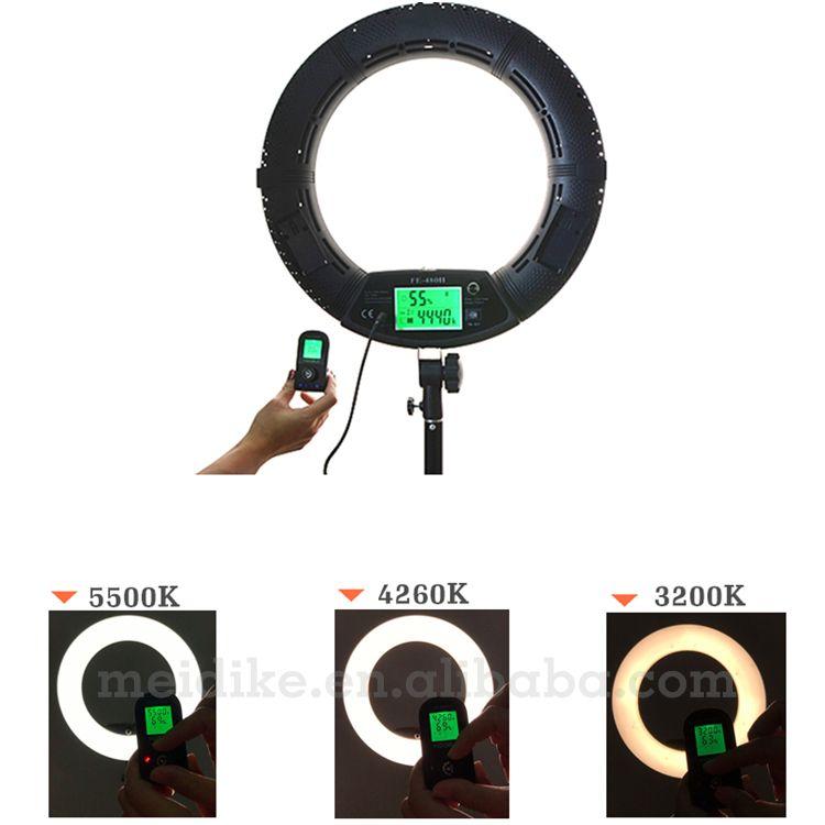 Yidoblo RU shipping black FE-480II LED Ring light Makeup cold warm color adjustable Studio 480 LED Macro Ring Light 3200K-5600K