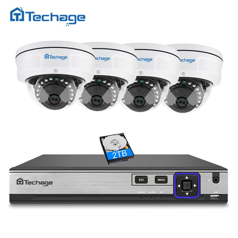 Techage H.265 4CH 5MP POE NVR CCTV System 2592*1944 Vandalproof Anti-vandal Indoor Dome IP Camera 5MP Security Surveillance Kit