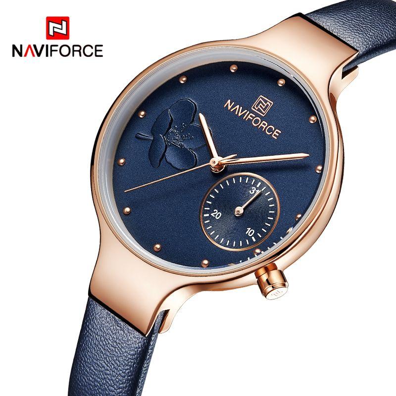 Women Watches NAVIFORCE Luxury Brand Fashion Quartz Ladies Rhinestone Watch Dress Wrist Watch Simple Blue Clock Relogio Feminino