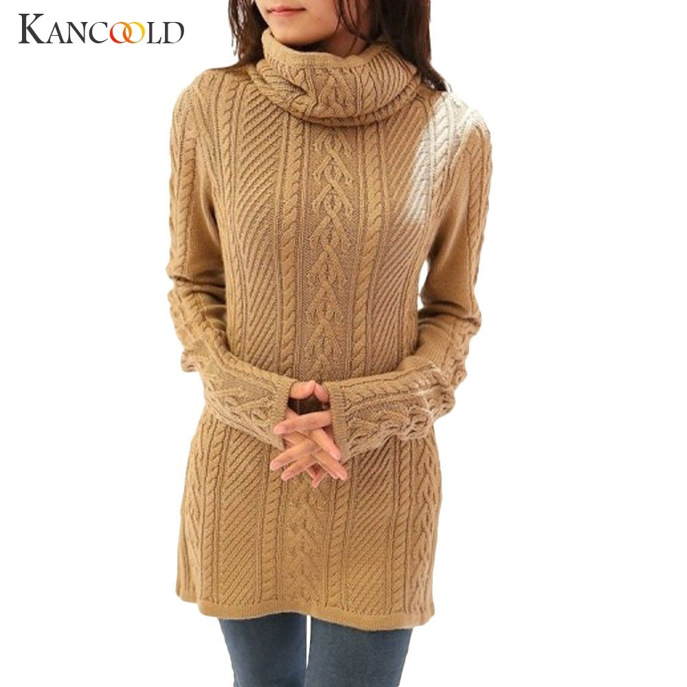 KANCOOLD 2017high quality sweater Women Polo Neck Knit Stretchable Elasticity Long Sleeve Slim Sweater Jumper Thick Sweater nov6