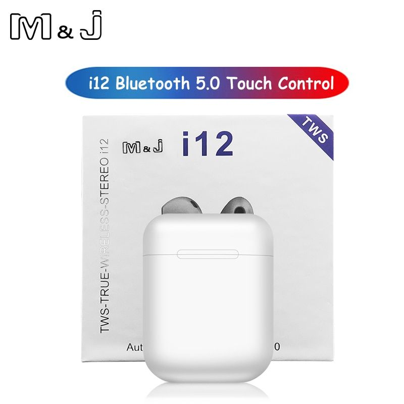 M&J i12 tws Touch control Wireless Bluetooth 5.0 Earphones 3D super bass Headphones pk i10 tws i20 tws i30 i60 TWS for xiaomi