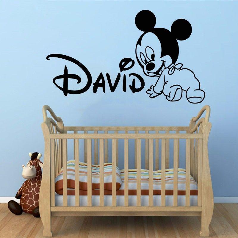 Creative nouveau bricolage mignon Mickey Mouse personnalisé enfants nom bébé stickers muraux pour enfants chambres décoration de la maison stickers muraux A209