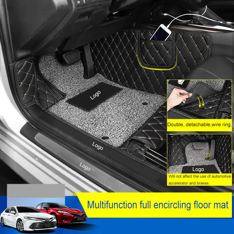 QHCP Microfiber Leather Car Floor Wire Mat Full Hemming New Arrival Non-slip Dust-proof Foot Mat Accessory For Toyota Camry 2018