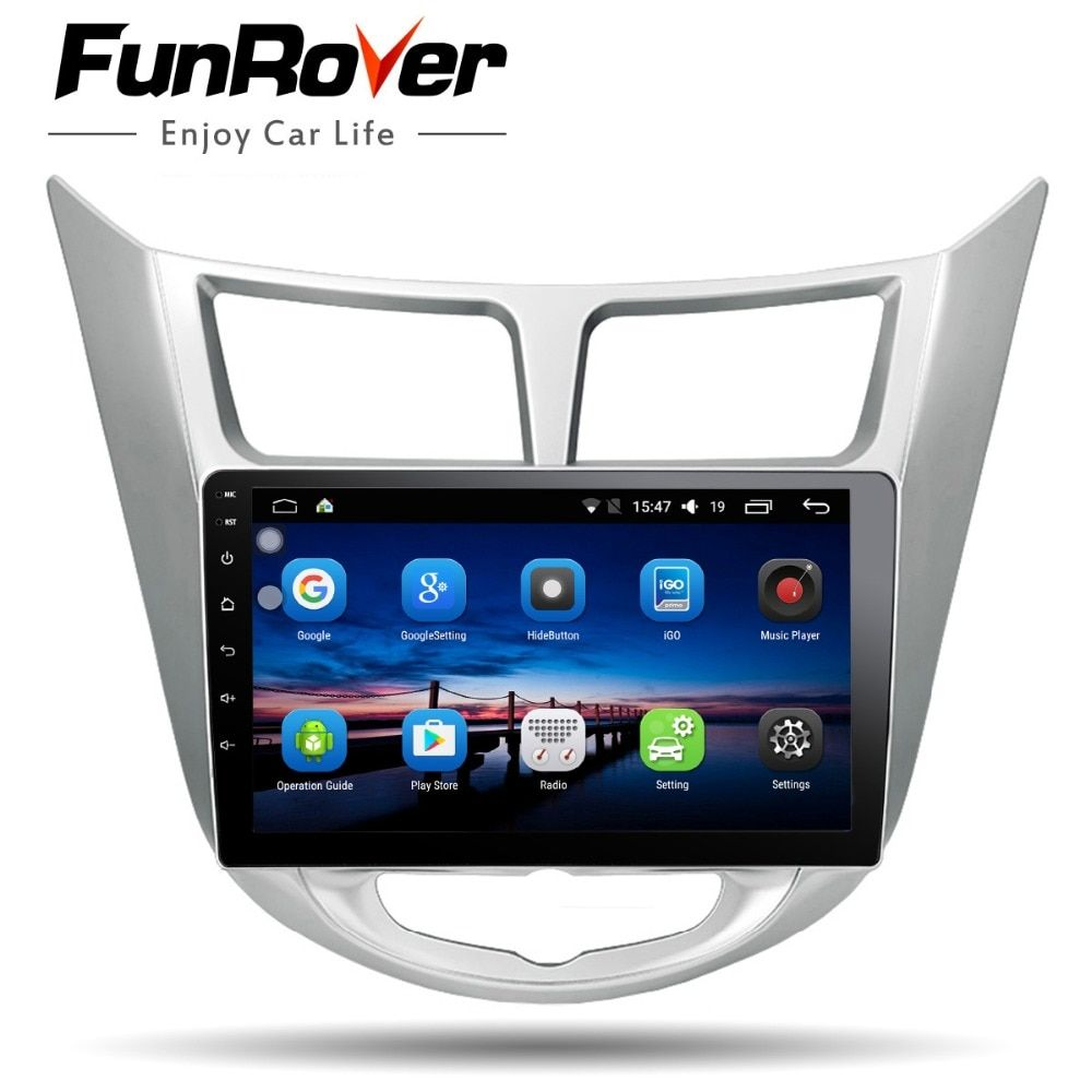 Funrover Android8.0 2 din Car DVD multimedia GPS for Hyundai Solaris Verna Accent 2011-2016 radio tape recorder video player usb