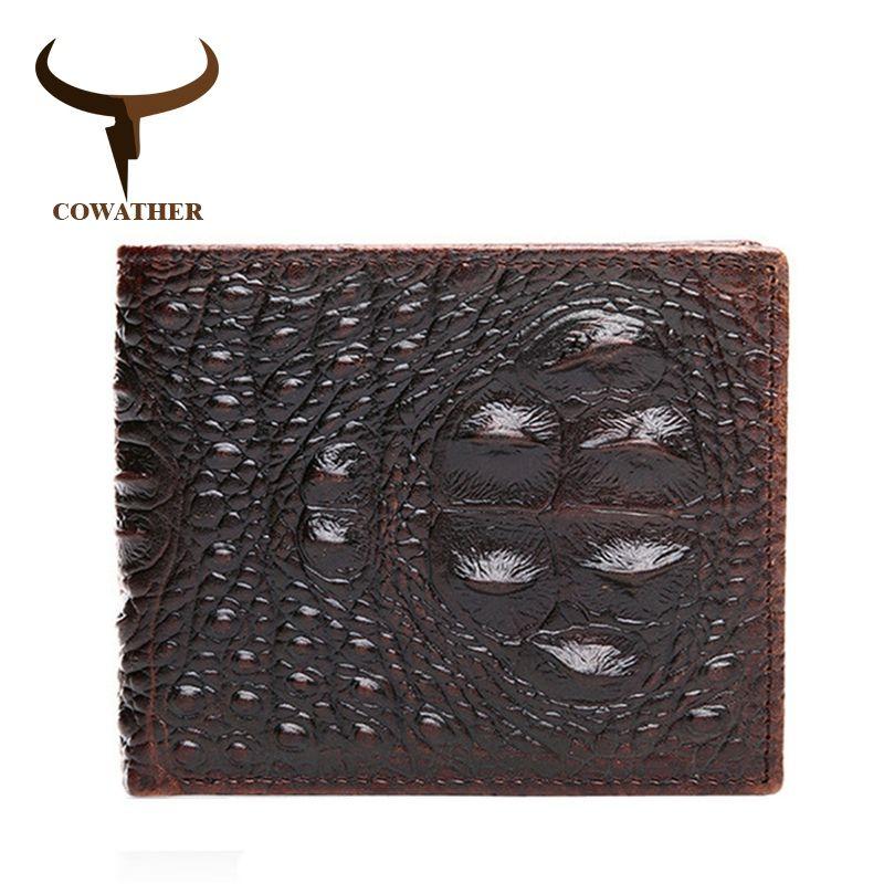 COWATHER 100% TOP cow genuine leather men wallets 2017 men wallet Crocodile embossed purse vintage designer male free shipping