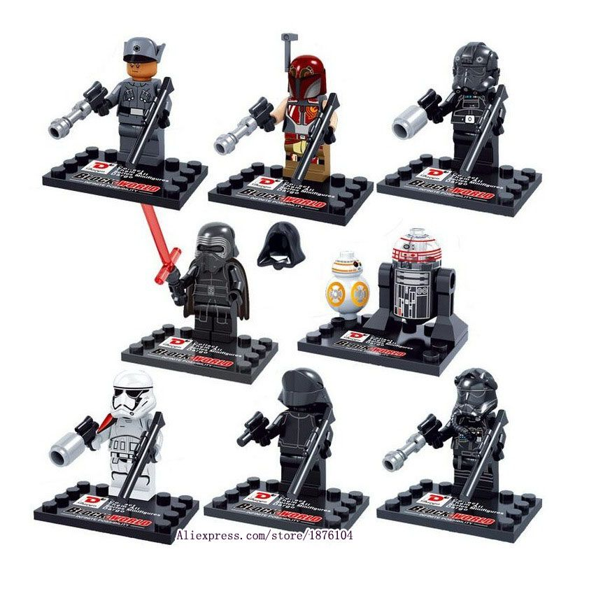 8 pièces Legoings Star Wars, Le Réveil de La Force Mini Blocs De Construction Chiffres Modèle Jouets Pour Enfants Super-Héros Briques Juguetes