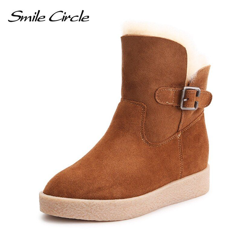 Lächeln Kreis Winter Schuhe Frauen Schnee Stiefel Keile Echtpelz Wasserdichte Wildleder Leder Stiefel Frauen Stiefeletten plattform Schuhe