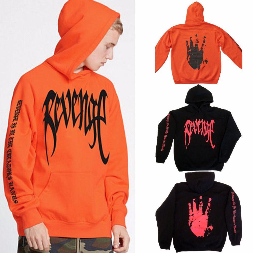 2018 New arrivals cool fashion revenge hand letter print long sleeve orange black women hoodies sweatshirts long sleeve pullover