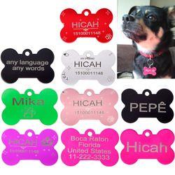 2 unids para Placas de Identificación Personalizada Pet Etiquetas Personalizadas Etiquetas de IDENTIFICACIÓN de Mascotas para perros y gatos de Envío Libre de Grabado Láser Perro ID Tags Aluminio