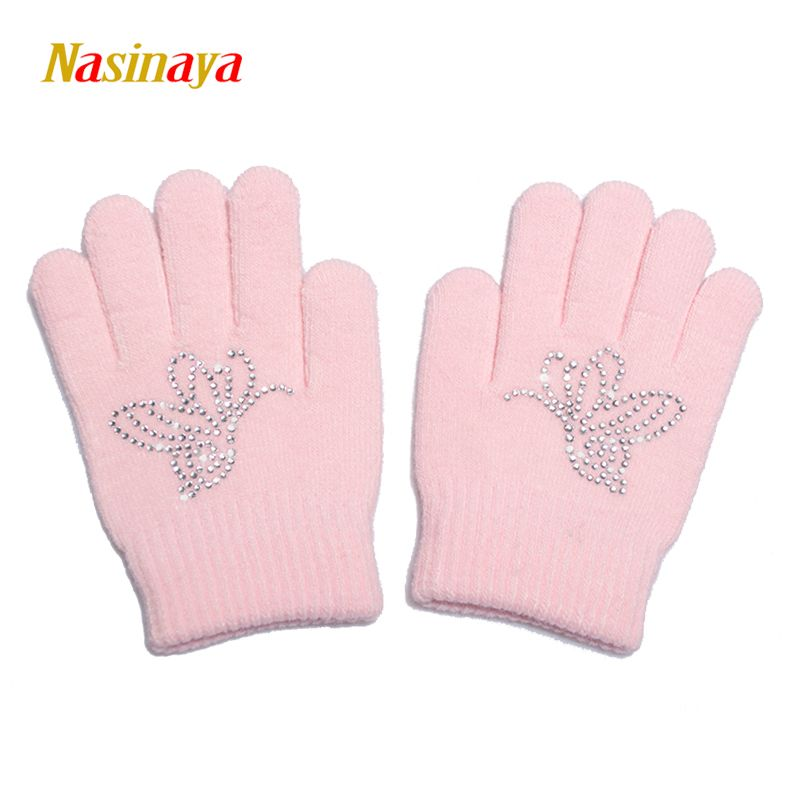 10 Colors Magic Wrist Gloves Figure Skating Ice Training Gloves Exquisite Warm Fleece Thermal Child Adult Butterfly Rhinestone