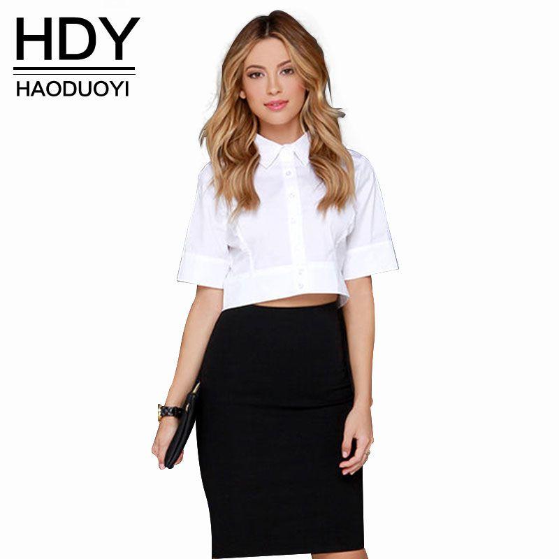 HDY Haoduoyi européenne automne 2018 dames OL Slim demi-récolte brève chemises blanches d'été Blouse à manches courtes haut pour les femmes