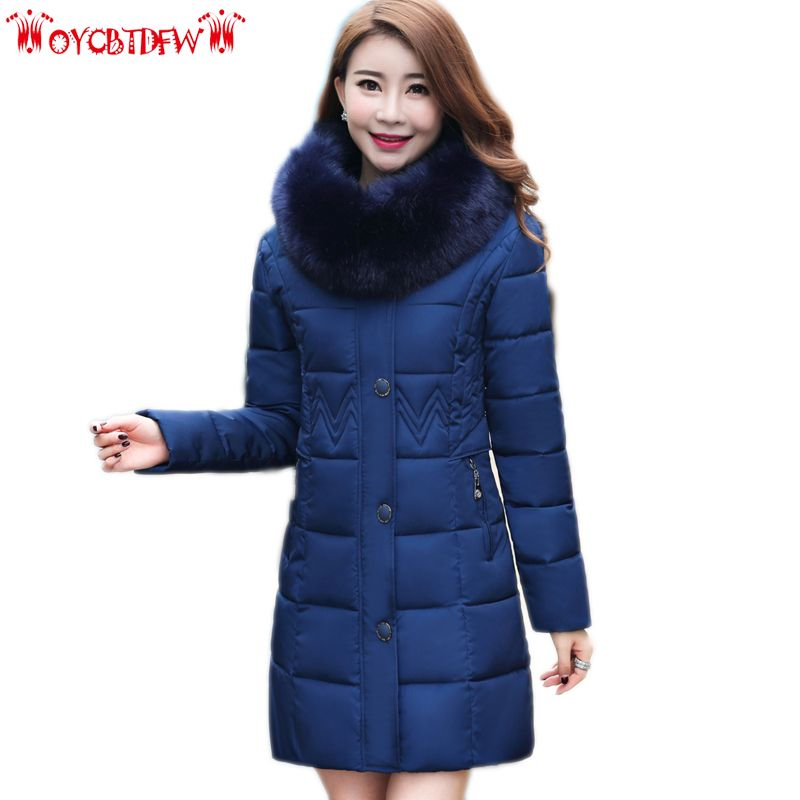 Winter feather cotton coat women 2017 new solid color plus size mid-long hooded Thickeing Fur collar warm female outrewear ll544