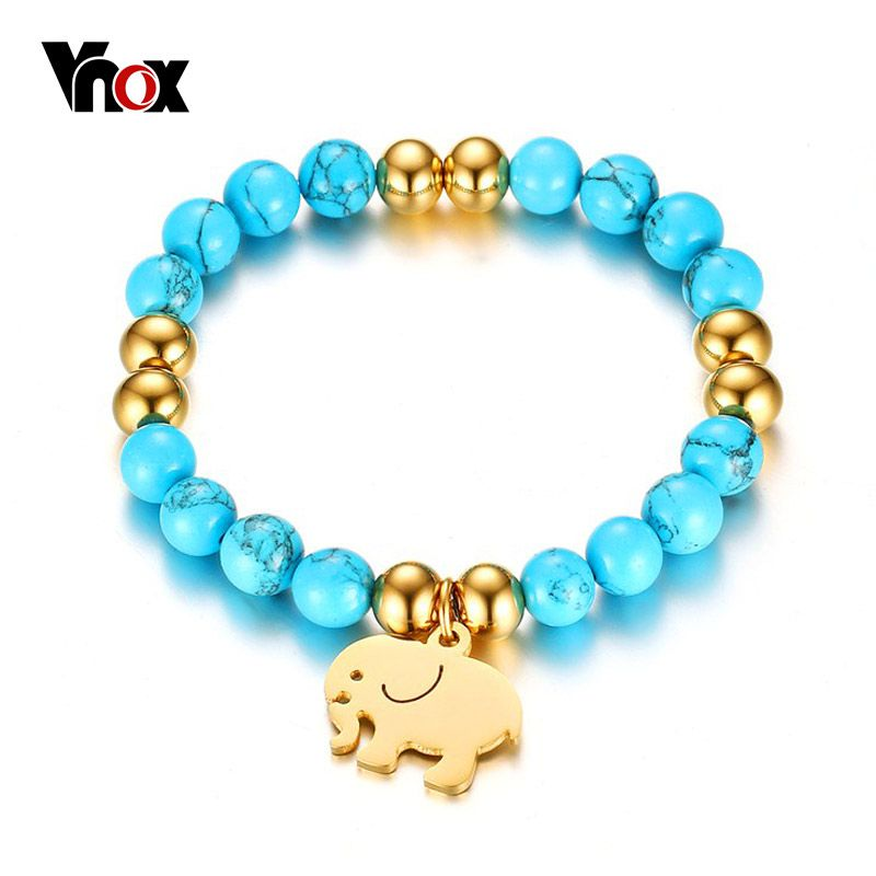 Vnox Charms Beads bracelets & bangles Ladies' Party Jewelry Blue Natural Stone With Elephant Jewelry