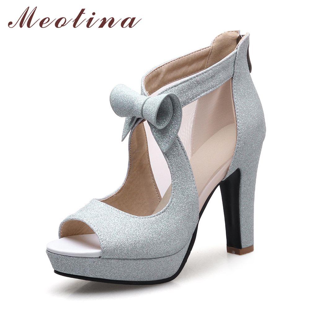 Meotina/Женская обувь на платформе с высоким каблуком с бантом Лодочки с открытым большим пальцем пикантные Вечерние туфли на высоком каблуке ...
