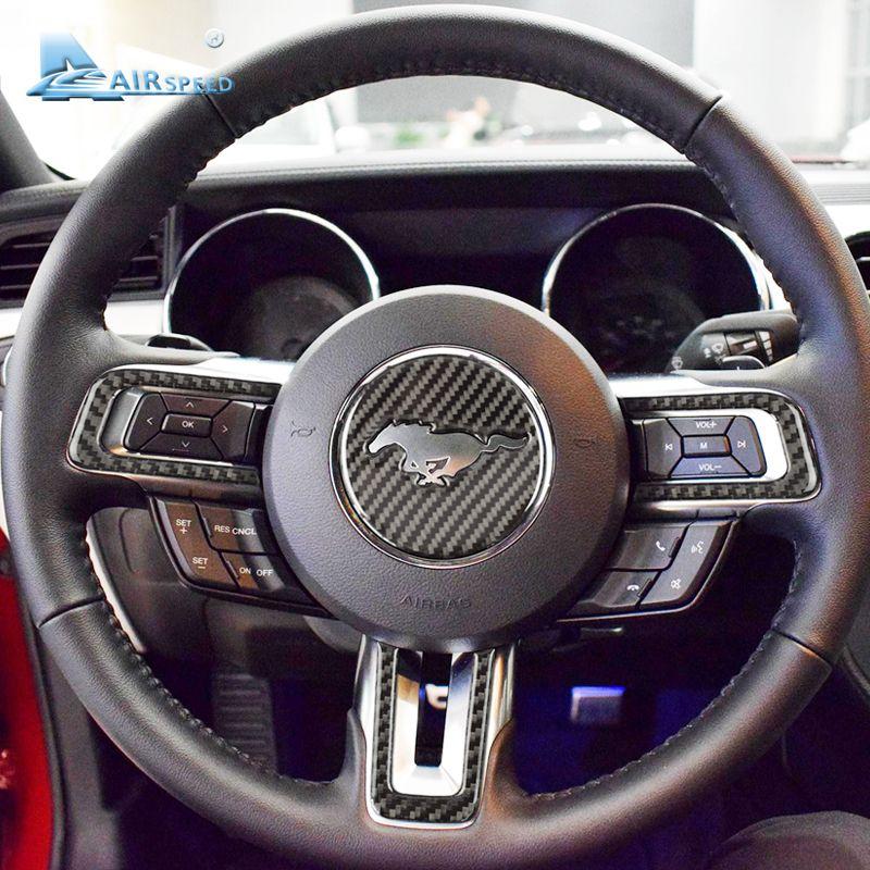 Emblème de volant en Fiber de carbone Airspeed pour autocollants de voiture Ford Mustang 2015 2016 2017 accessoires Auto