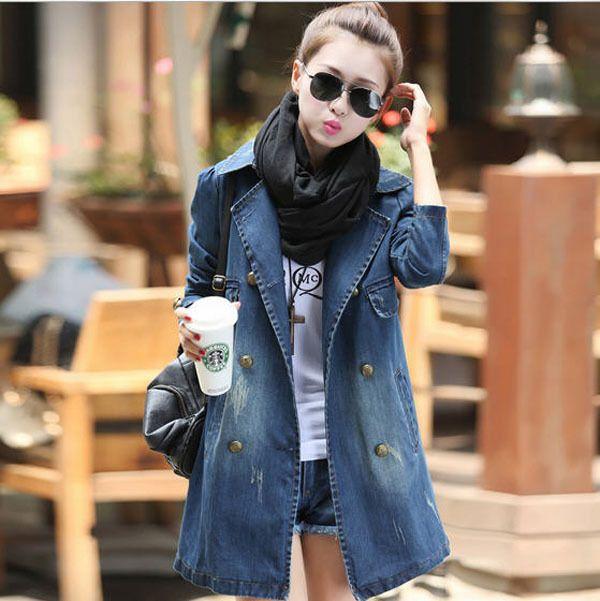 Autumn 2014 New Slim Plus Size Women'S Denim Coat Long-Sleeved Double-Breasted Turn Down Collar Denim Jacket Female H3084