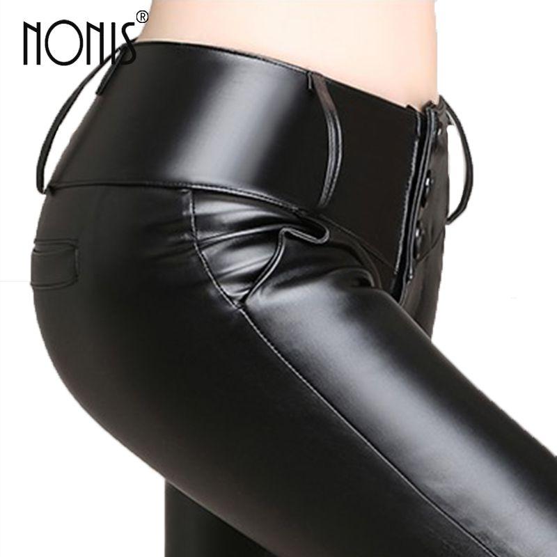 Nonis femmes PU cuir crayon pantalon noir taille haute Stretch dames en cuir Leggings femme Long pantalon velours et pas de velours