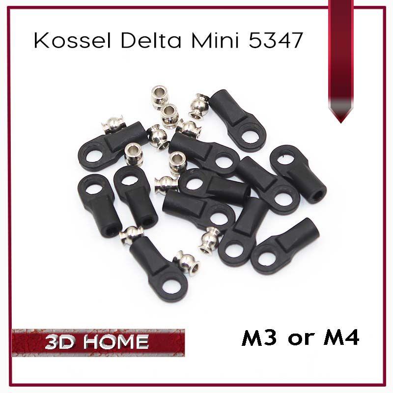 1Set=12 Kossel Delta Mini 5347 Buckle For M3 M4 Ball Caps Parallel Arm Rod Carbon Rod Joints  Balls & handles For 3D Printer