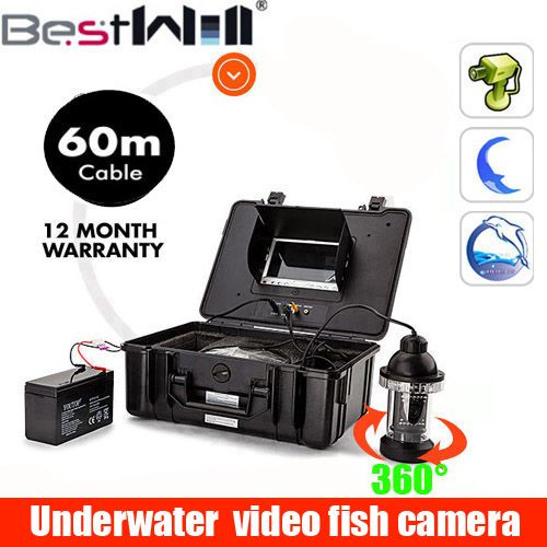 7'' Underwater Fish Finder 60M Cable underwater video camera Light Controllable Night Vision Visual Camera For Fishing