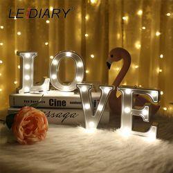 LEDIARY más nuevo alfabeto forma LED noche luz plateado cuerpo caliente decoración para la boda de cumpleaños propuesta de matrimonio