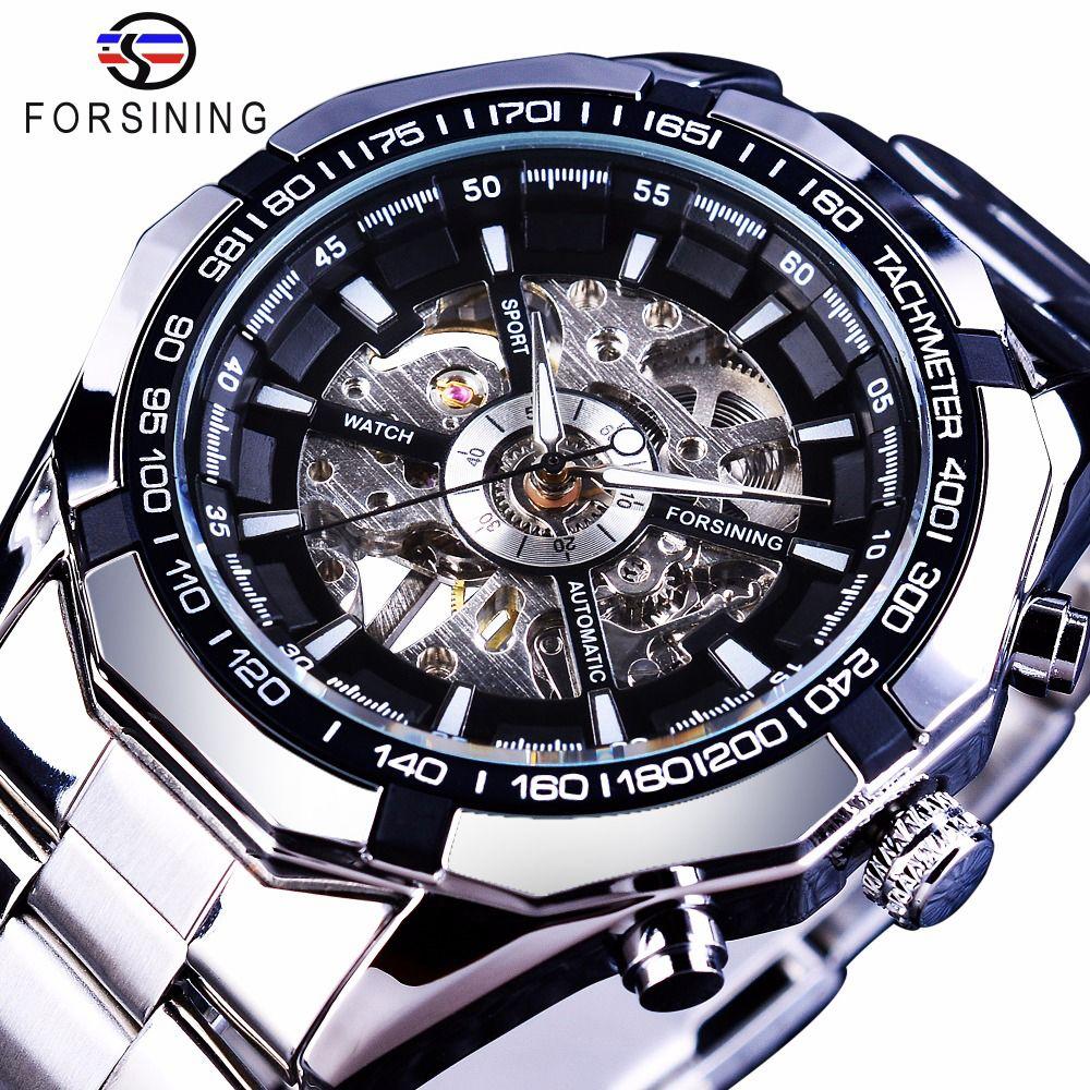 Forsining 2017 argent acier inoxydable étanche hommes squelette montres Top marque de luxe Transparent mécanique homme montre-bracelet