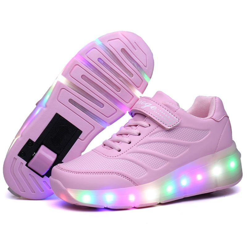 Aimoge Roller Sneakers Roller Shoes Kids Tennis Patins Led Wheel Shoes Sports Inline Skateshoes Boys Girls Breathable Outdoor