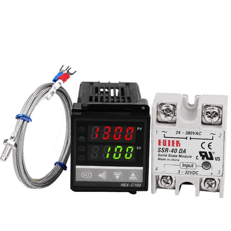Ensemble de régulateur de température numérique PID régulateur REX-C100 avec sortie SSR + Thermocouple K + relais à semi-conducteurs SSR 40A